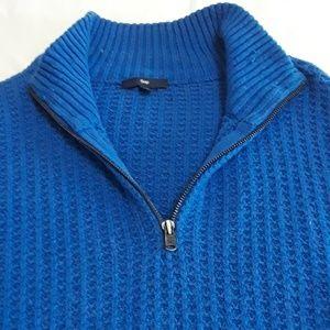 Gap Sz L  Blue 1/4 zip waffle weave sweater
